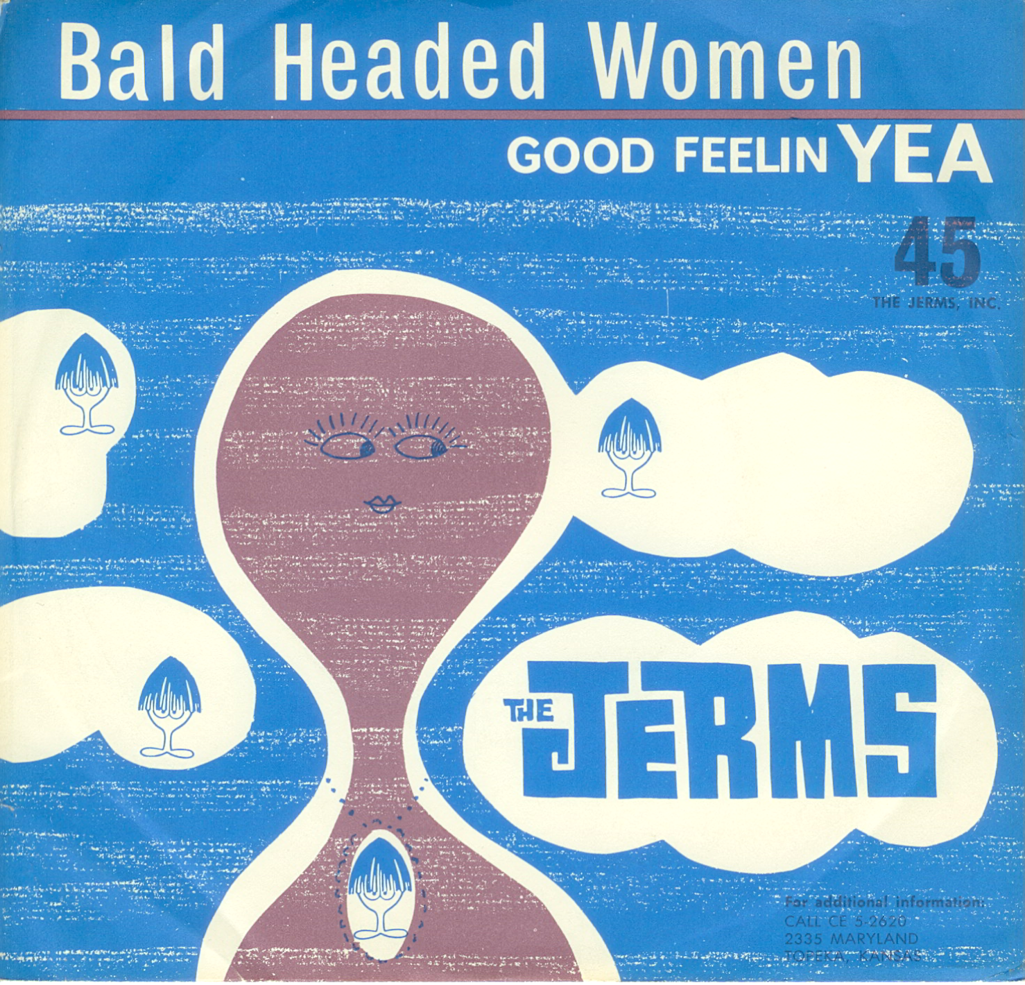 "The Jerms 45 single cover for ""Bald Headed Woman"" released by The Jerms 1964."