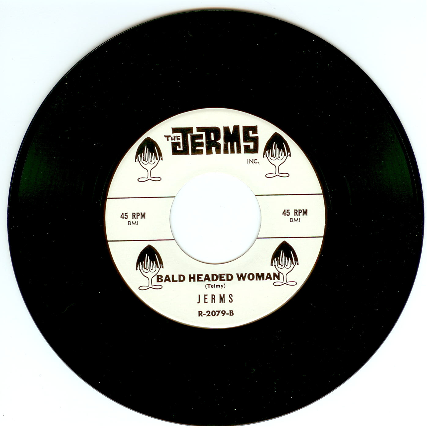 """The Jerms 45 single """"Bald Headed Woman"""" released by The Jerms 1964."""
