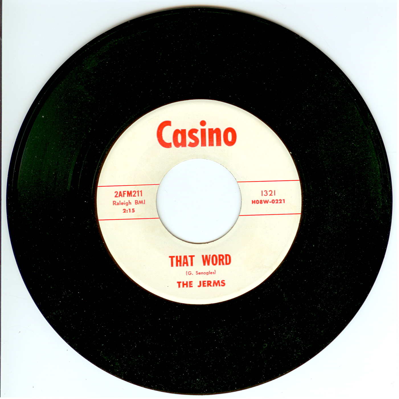 "The Jerms 45 single ""That Word"" released by Casino Records 1966."
