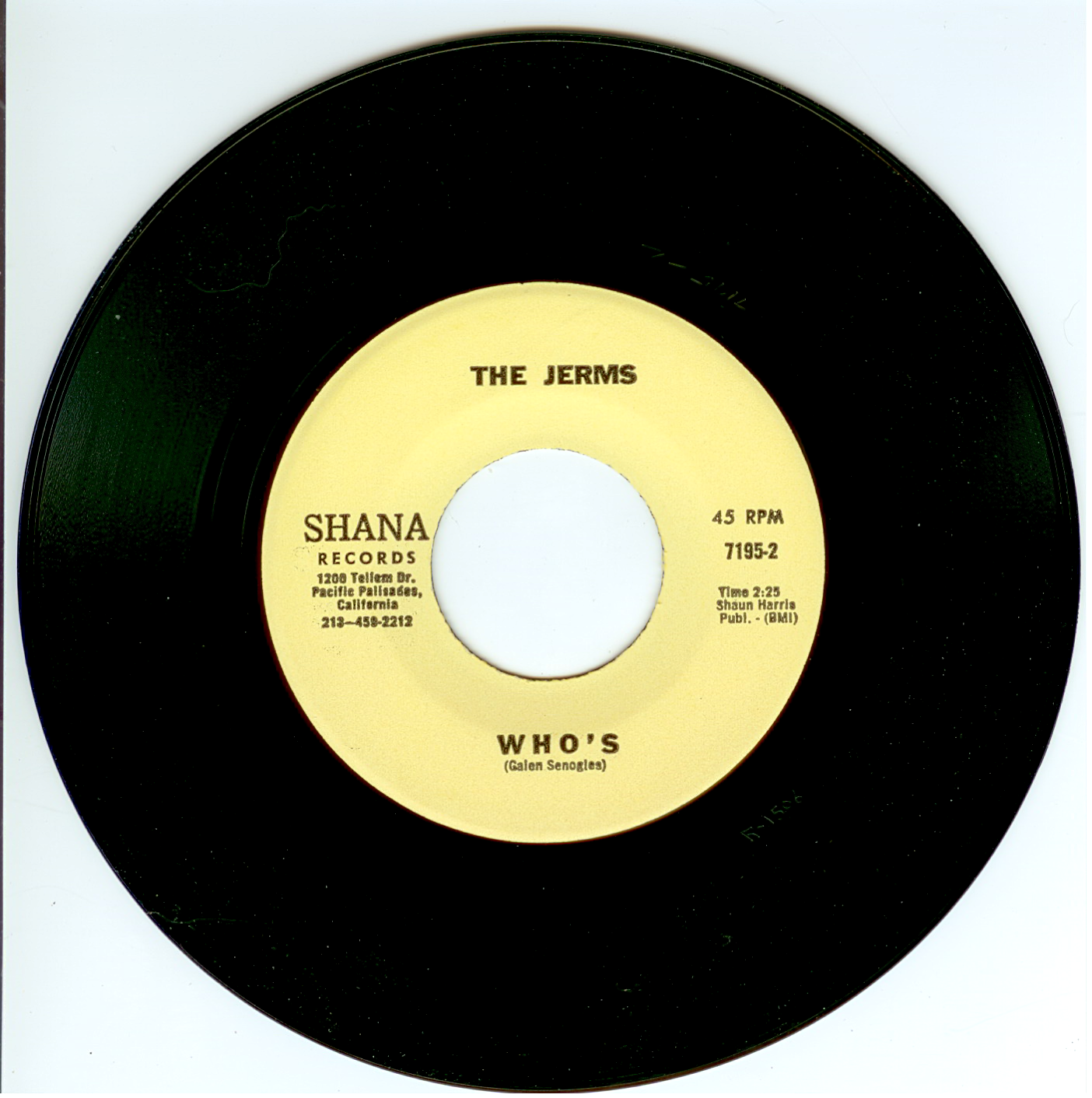 """The Jerms 45 single """"Who's"""" released by Shana Records 1966."""