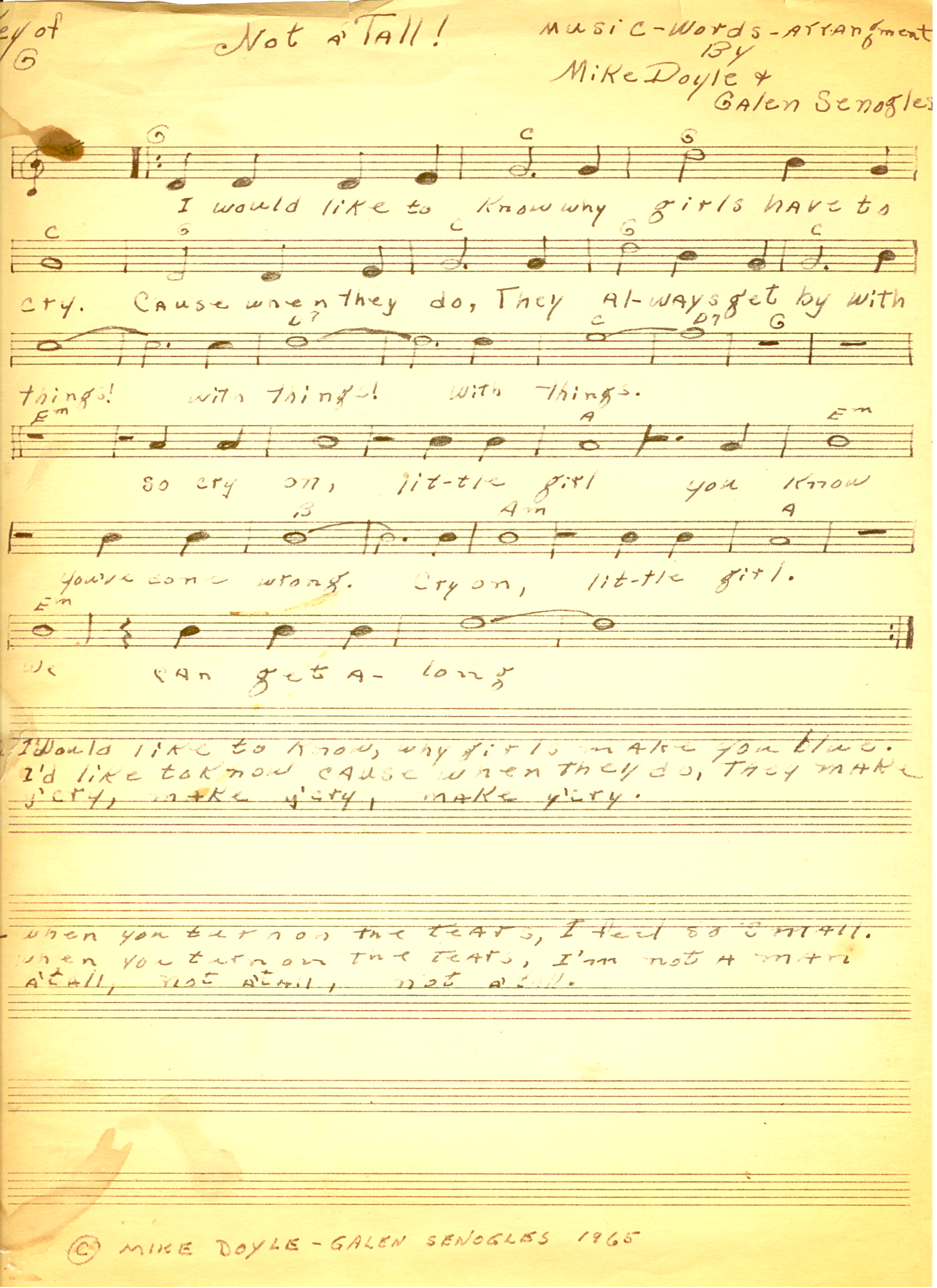 """The sheet Music for The Jerms 45 single """"Not 'a Tall"""" in 1966."""