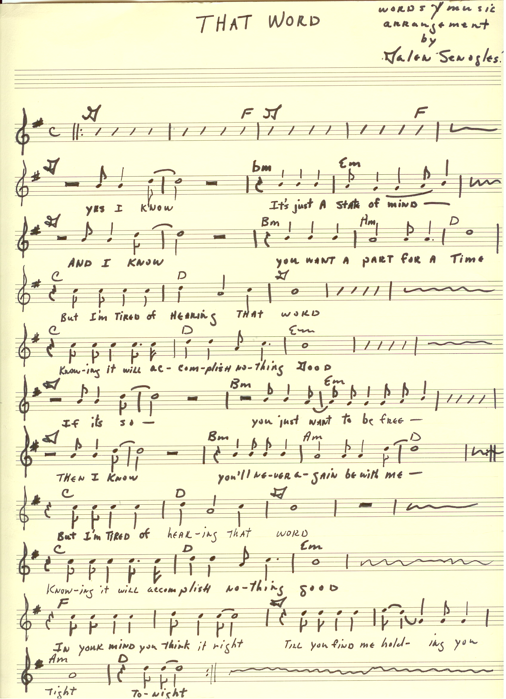 "The sheet Music for The Jerms 45 single ""That Word"" in 1966."