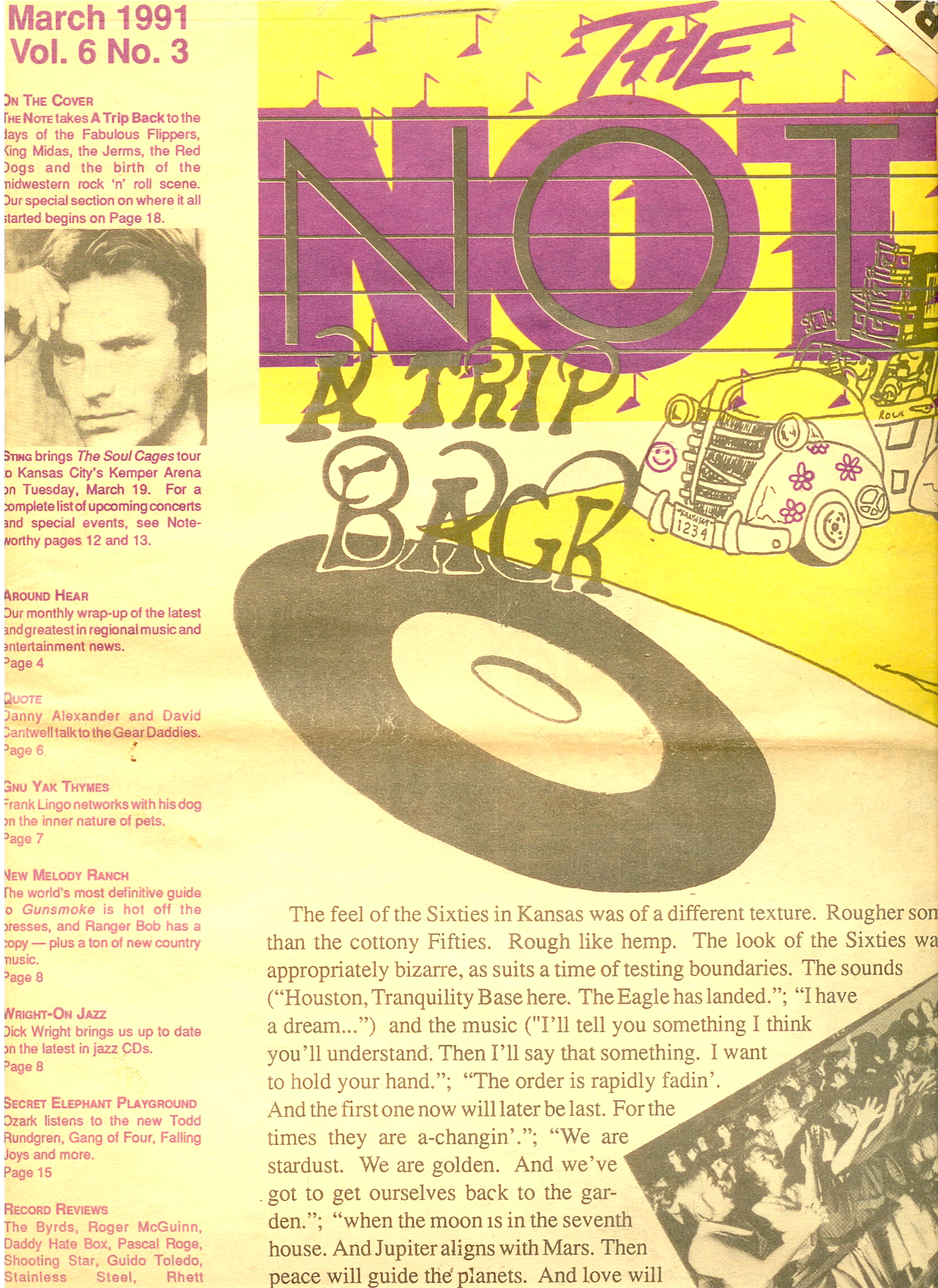 The Jerms on the cover of The Note March 1991. The photos form 1965.