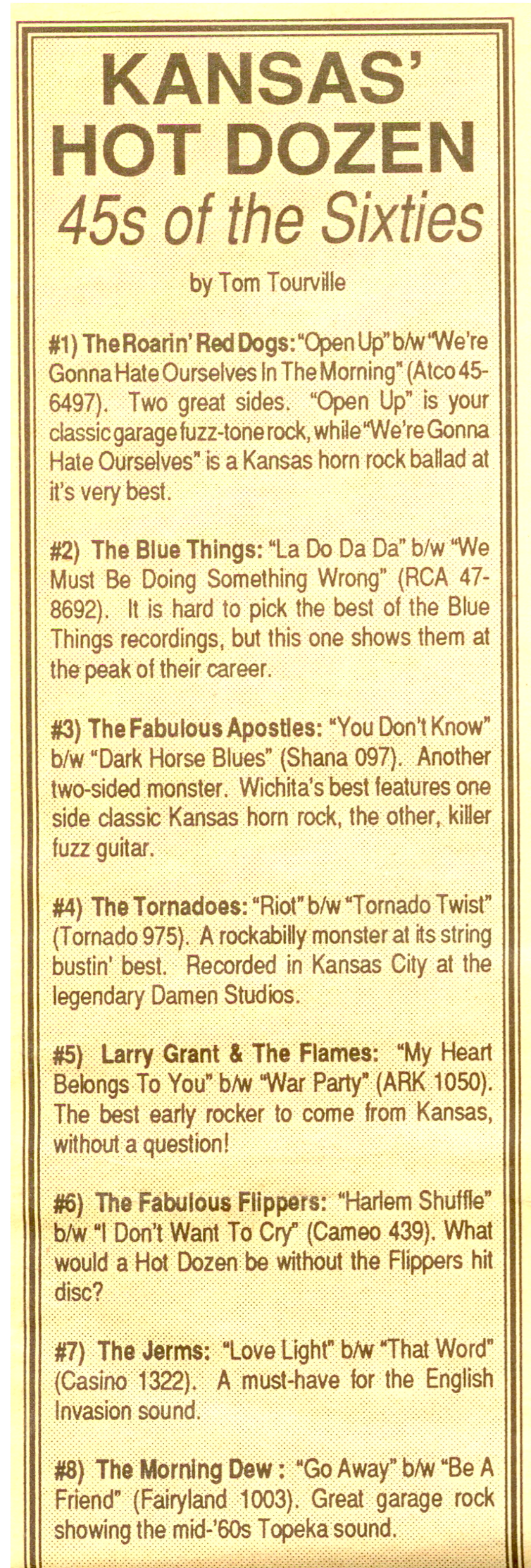 The Jerms article in The Note March 1991, number 7 on the hot singles of the sixties. The photos form 1965.