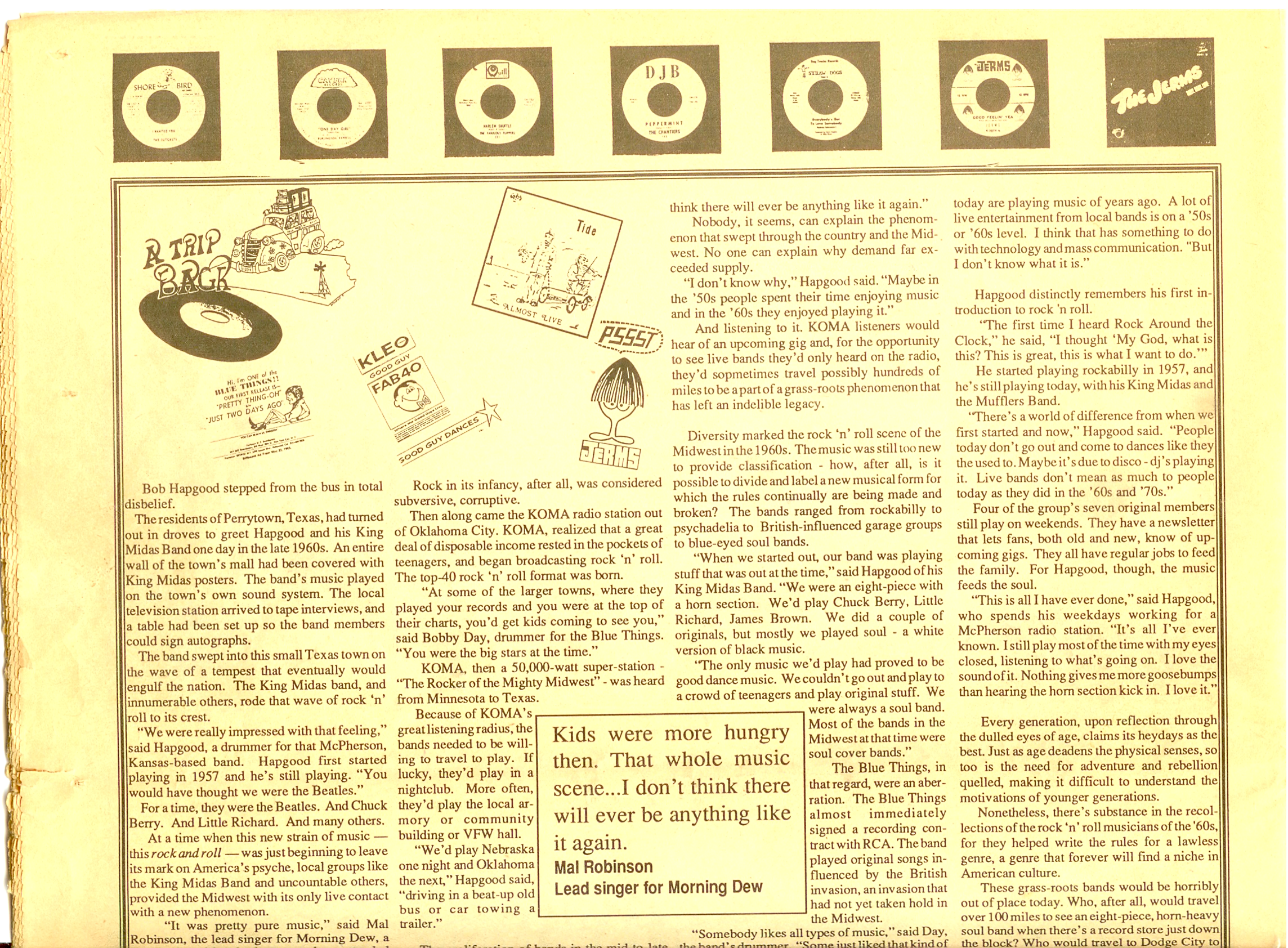 The Jerms article in The Note March 1991 about songs on KOMA radio. The photos form 1965.
